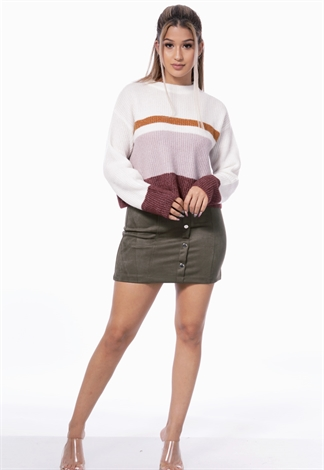 Button Detail Suede Mini Skirt