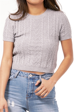 Cable Crop Knit Top