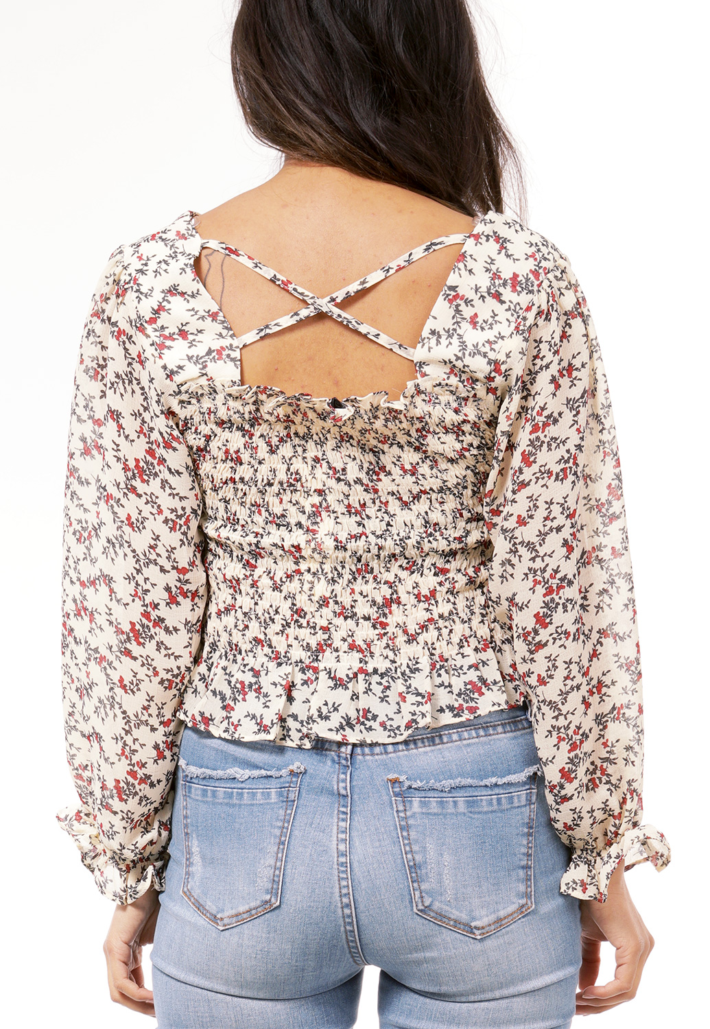 Flower Pattern Smocked Ruffle Top