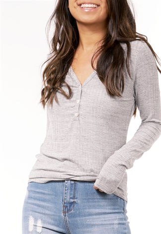 Ribbed Deep V-Neck Button Knit Top