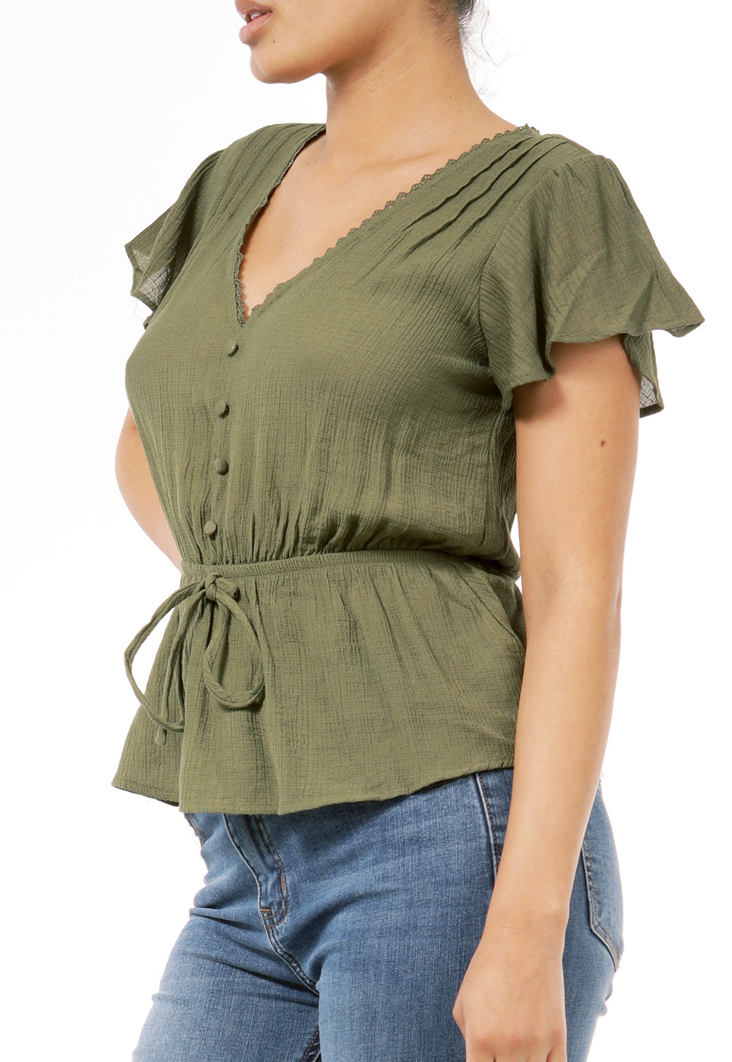 Tie Front Button V-Neck Top