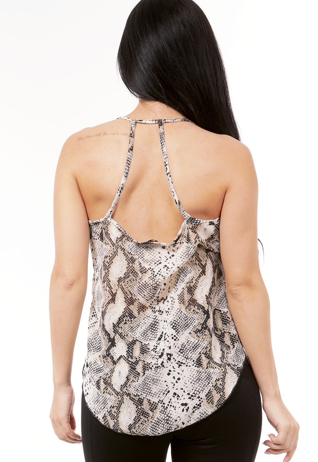 Snake Print Sleeveless Surplice Top