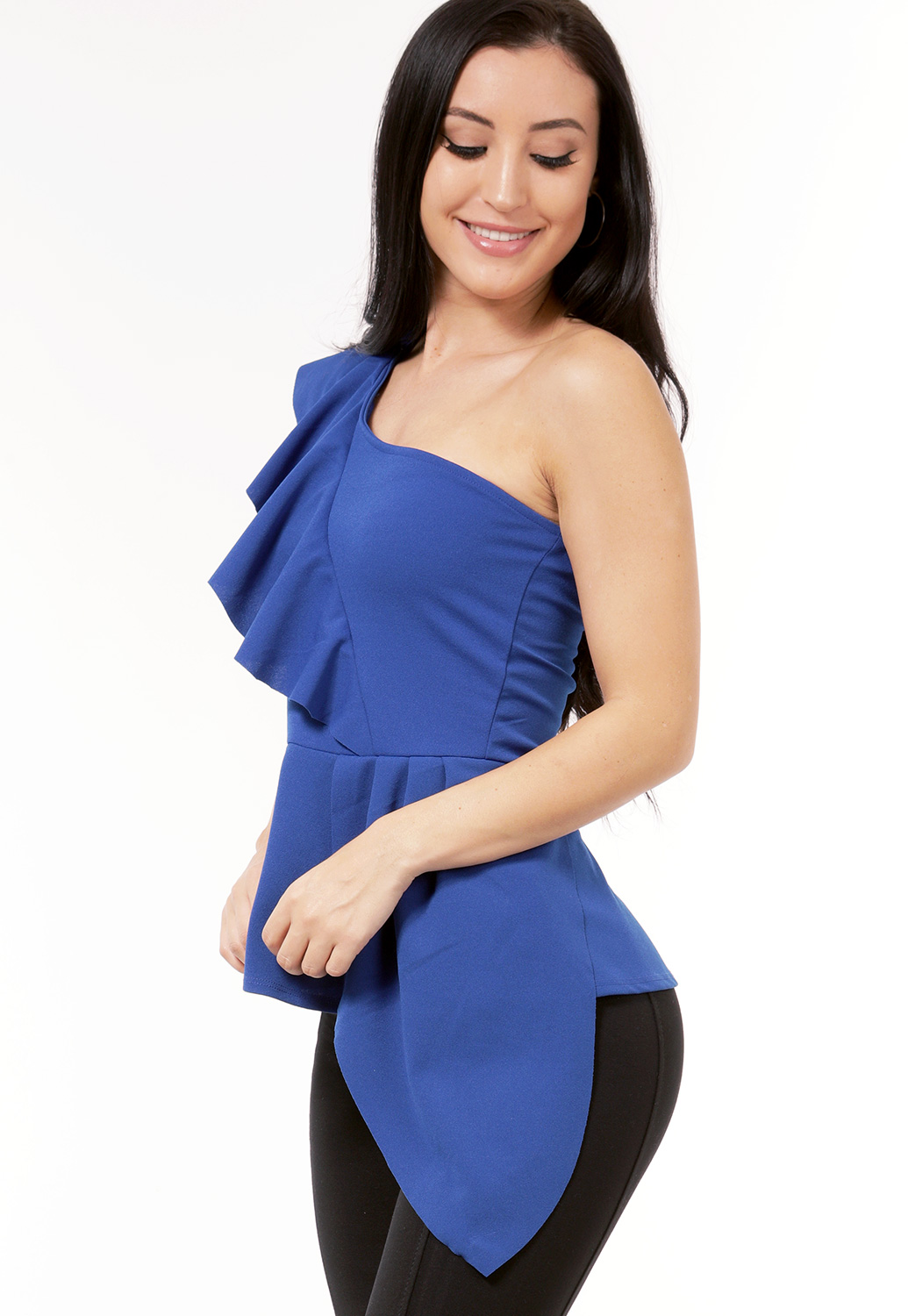 One Shoulder Ruffle Dressy Top