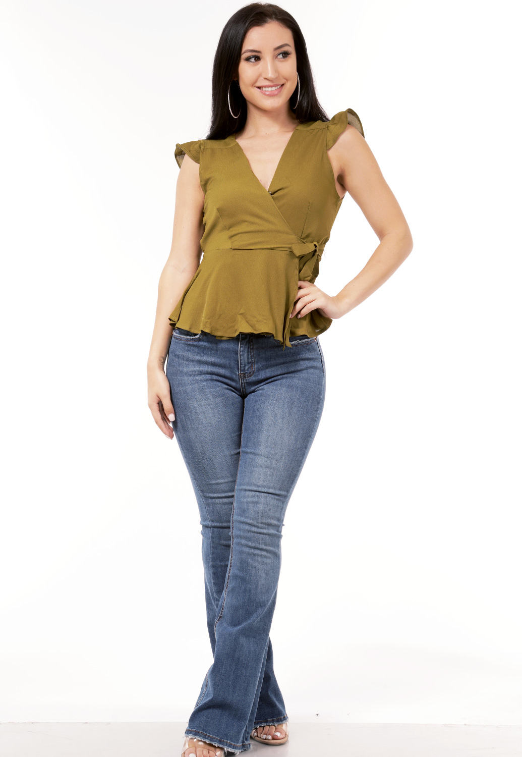 Wrap Front Side Tie Top