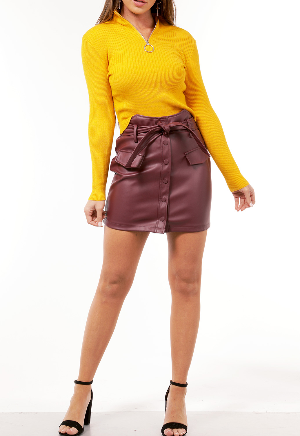 Tie Front Faux Leather Skirt