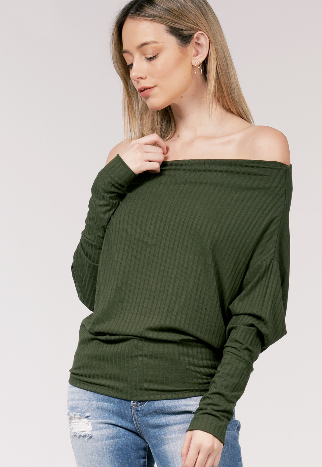 Cowl Neck Long Sleeve Knit Top