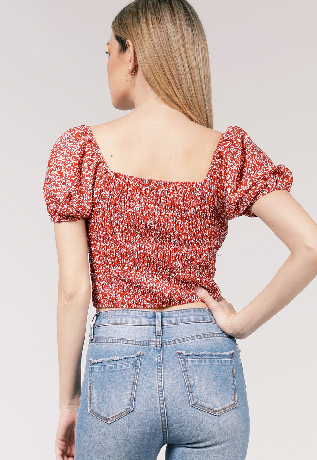 Floral Smocked Detail Casual Top