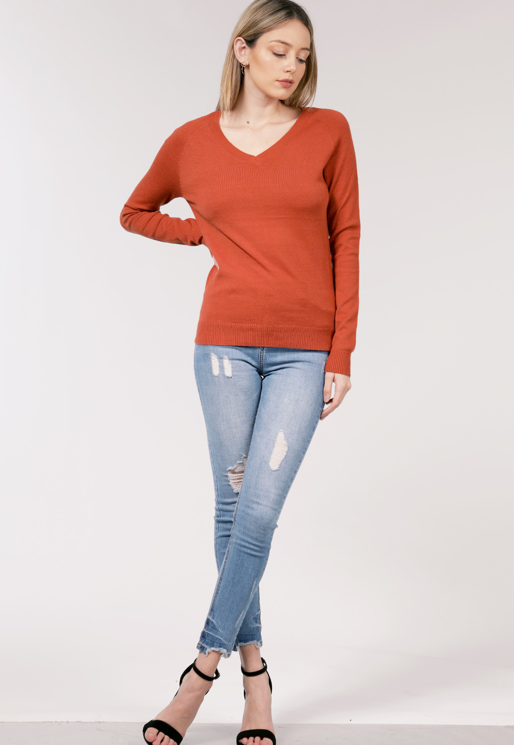 V-Neck Basic Sweater Knit