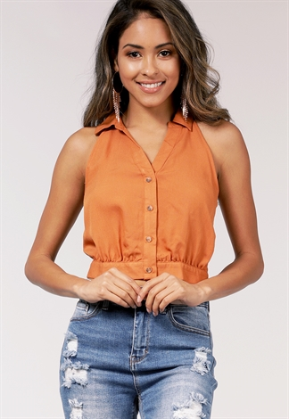 Button Detail Tie Back Top