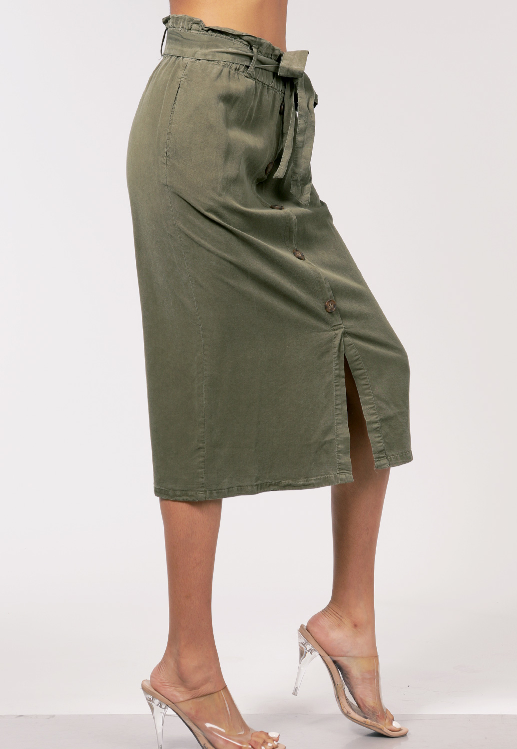 Tie Front Button Detail Skirt