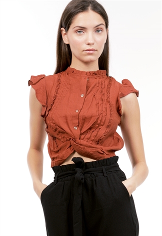 Crochet Trim Button Up Top
