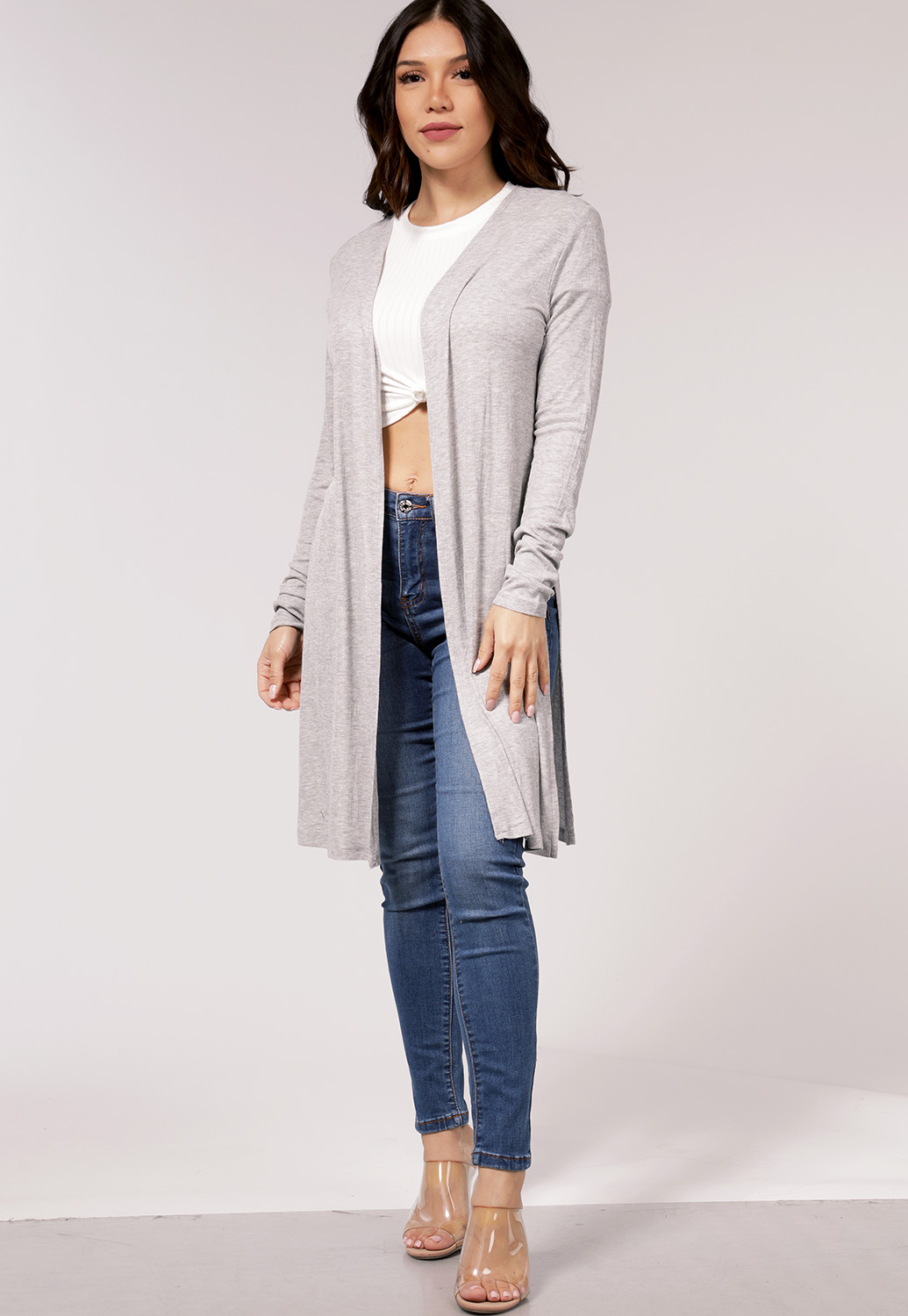 Ribbed Side Cut Out Cardigan