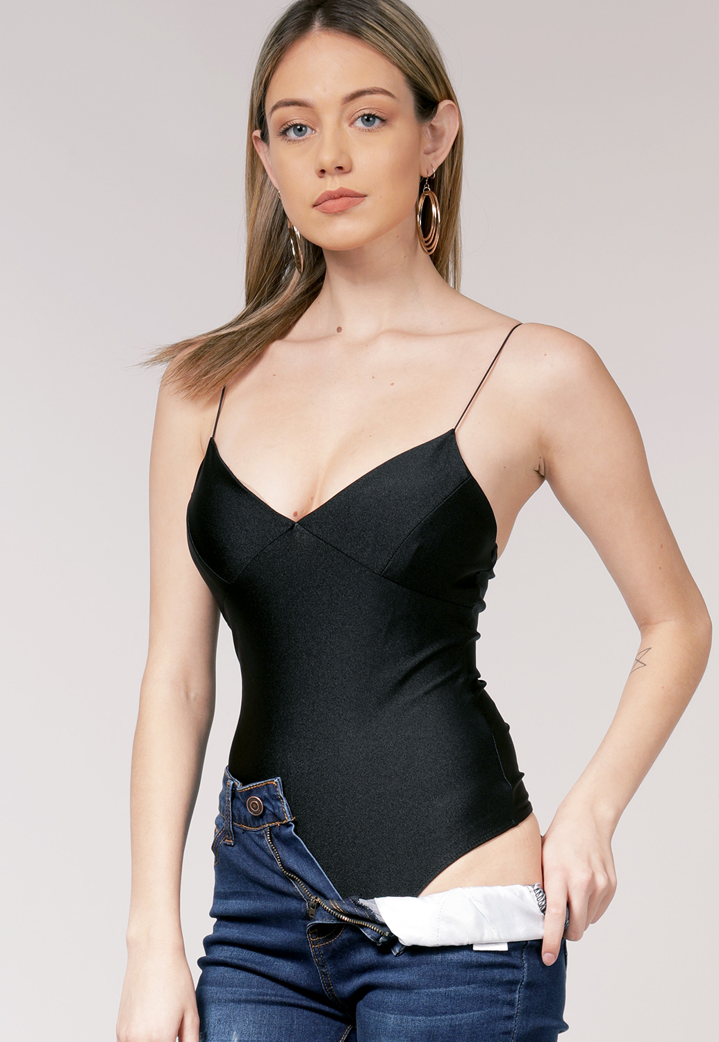 V Neck Sleeveless Bodysuit