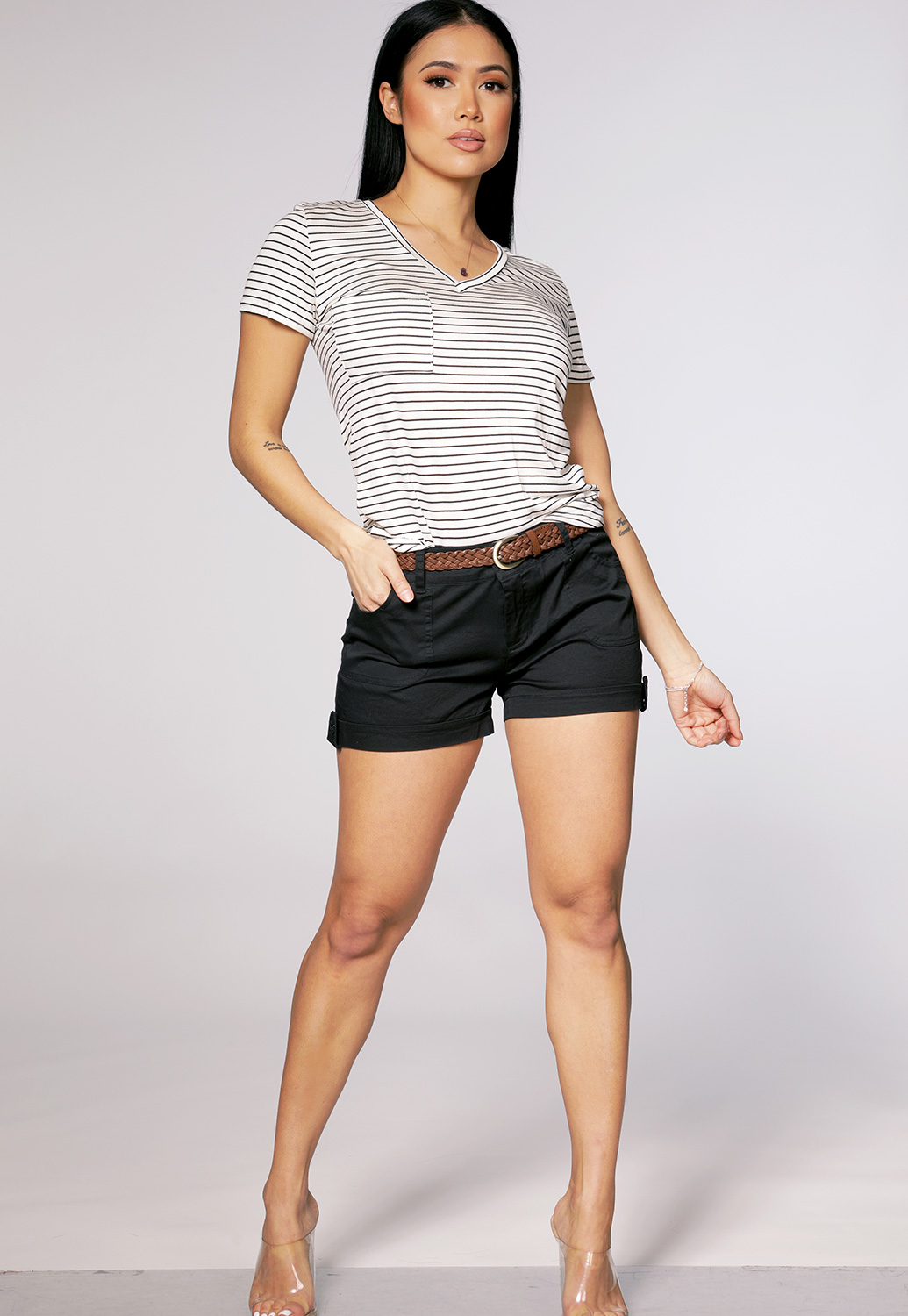 Striped Pocket Detail Top