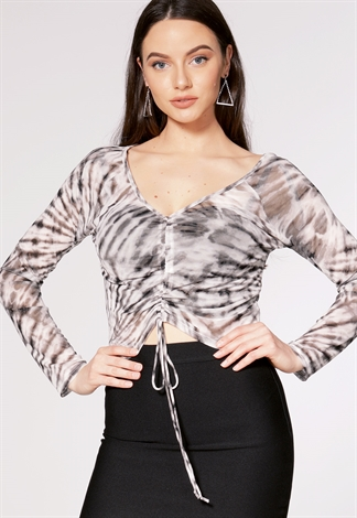 Tie Dye Ruched Detail Mesh Top