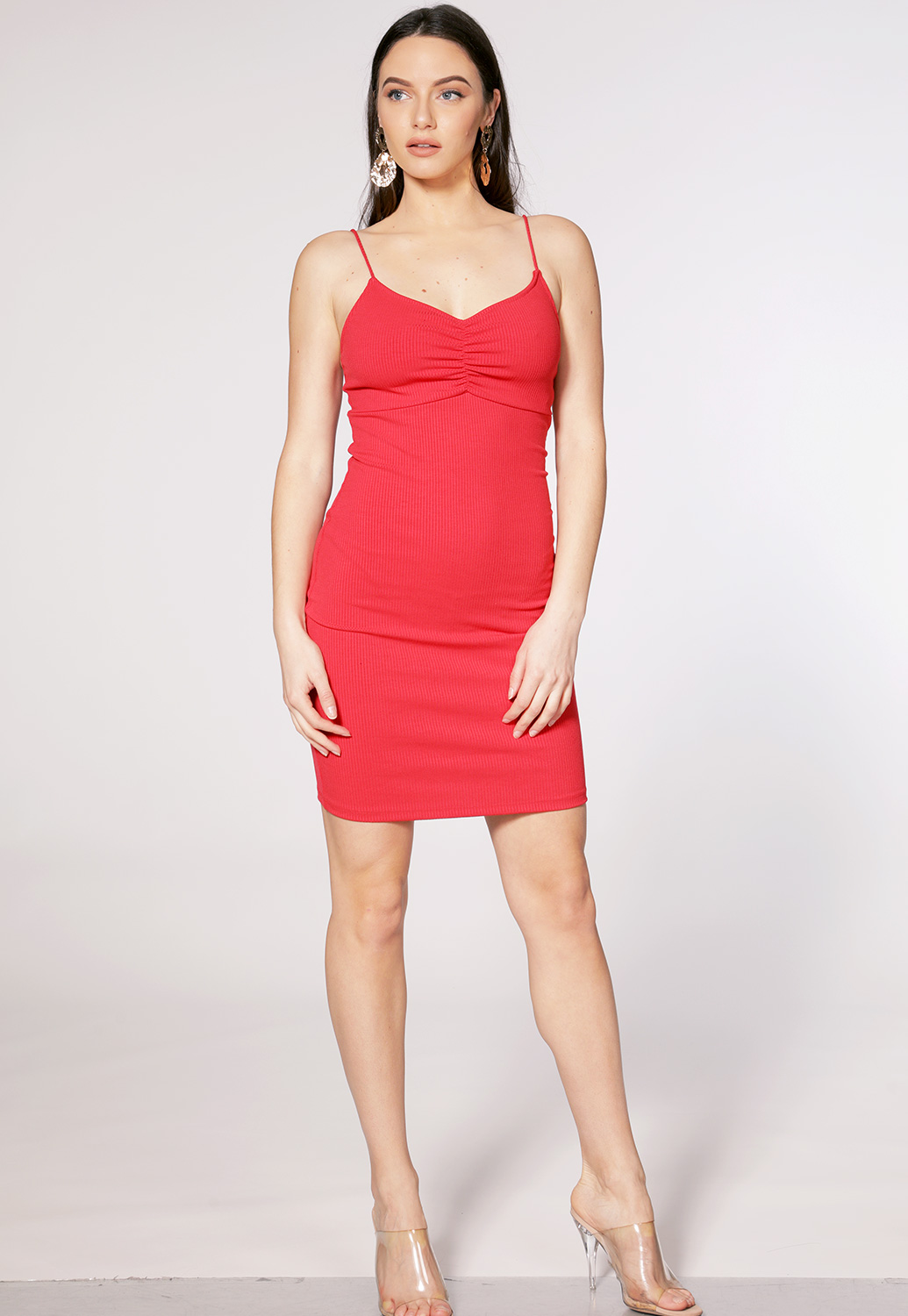 Ribbed Strappy Bodycon Dress