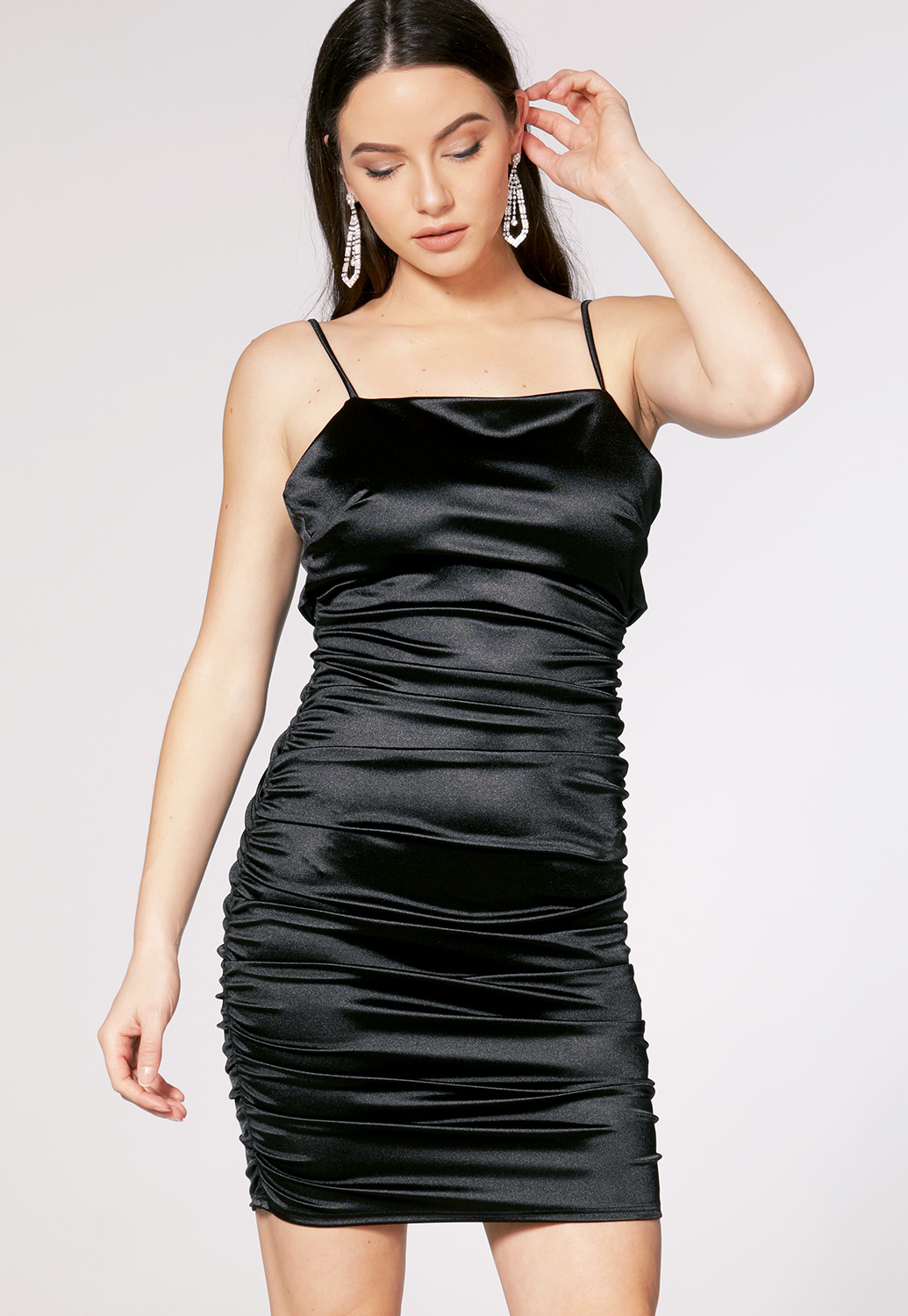 Satin Ruched Detail Mini Dress