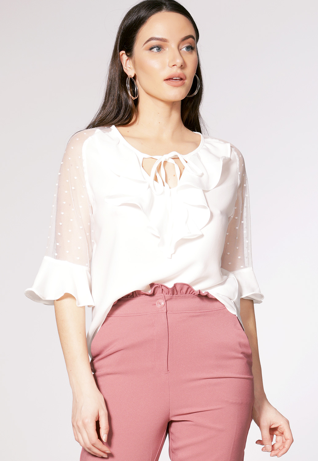 Sheer Mesh Sleeve Dressy Top