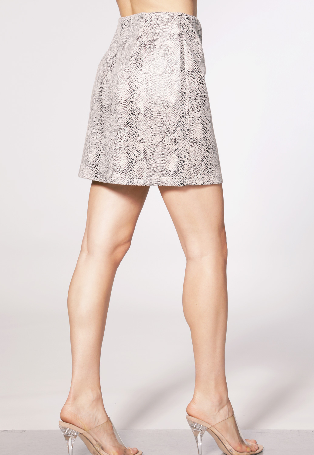 Snake Print Zip-Up Mini Skirt