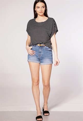 Belted High-Waisted Cuffed Shorts