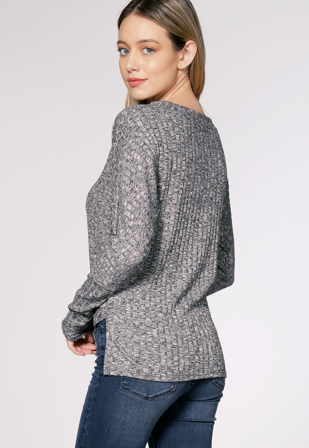Marled Tie Front Top
