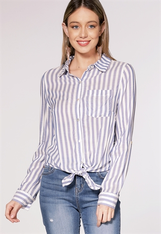 Pinstriped Dressy Blouse
