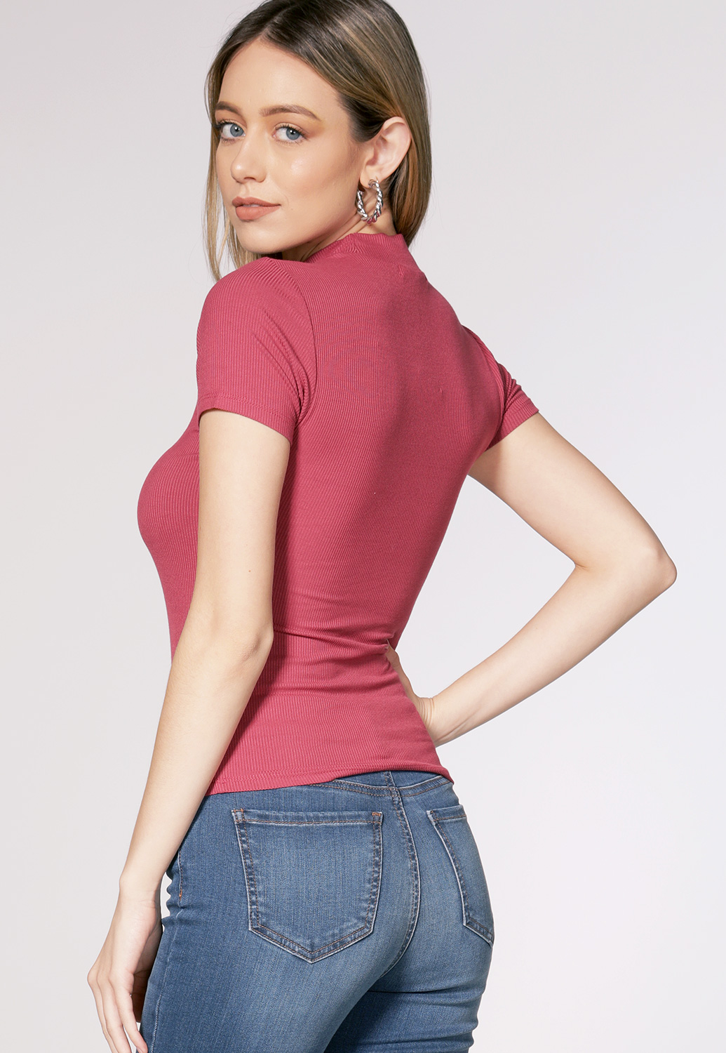 Sleeve Button Detail Ribbed Top