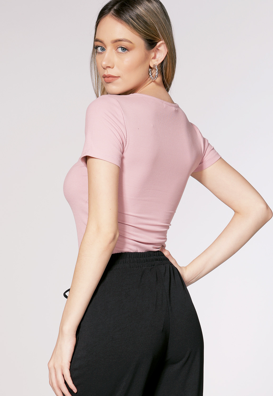 V Neck Ribbed Top