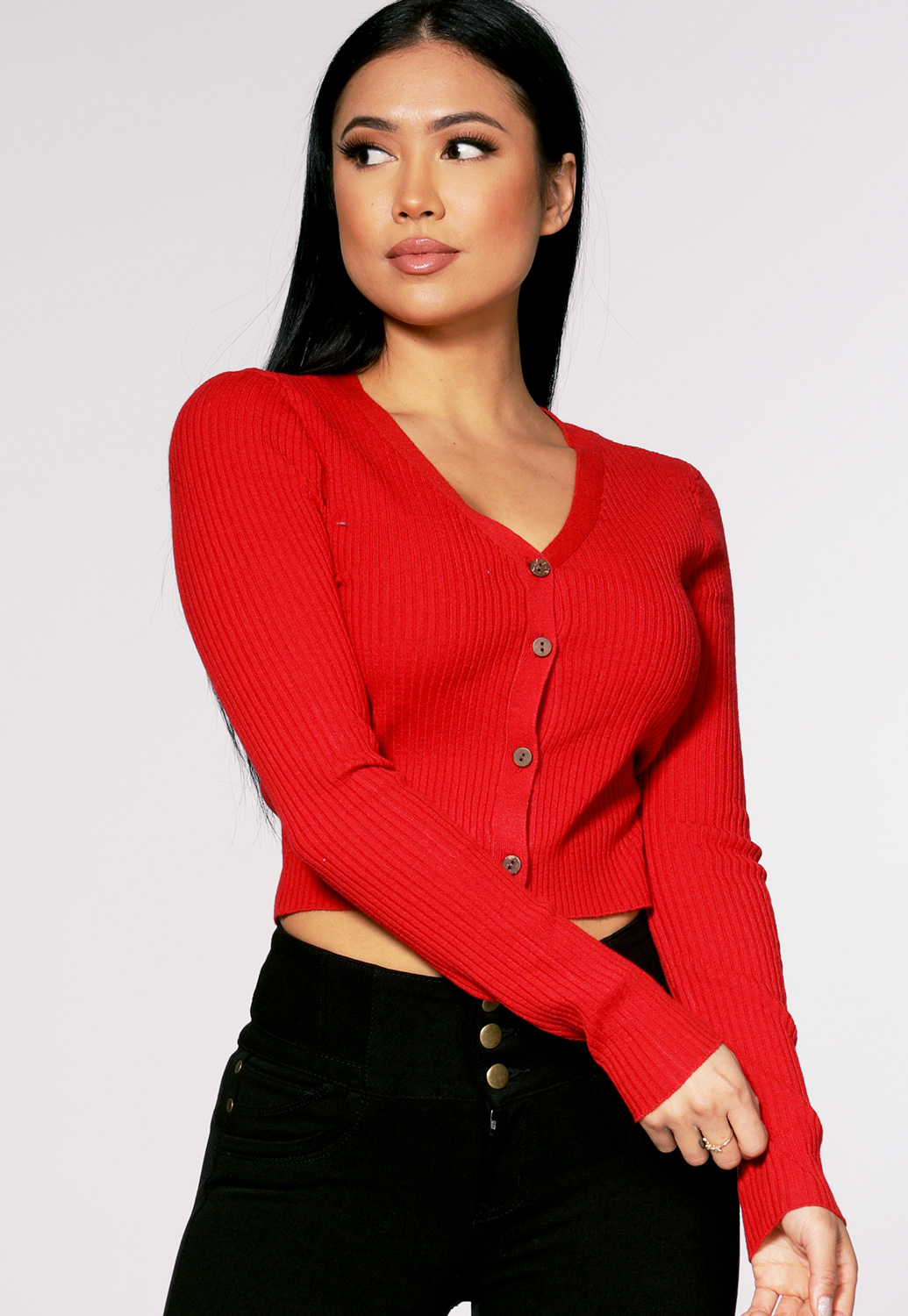 Button Up Knit Long Sleeve Cardigans