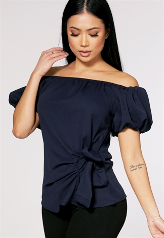 Off The Shoulder Tie Front Top