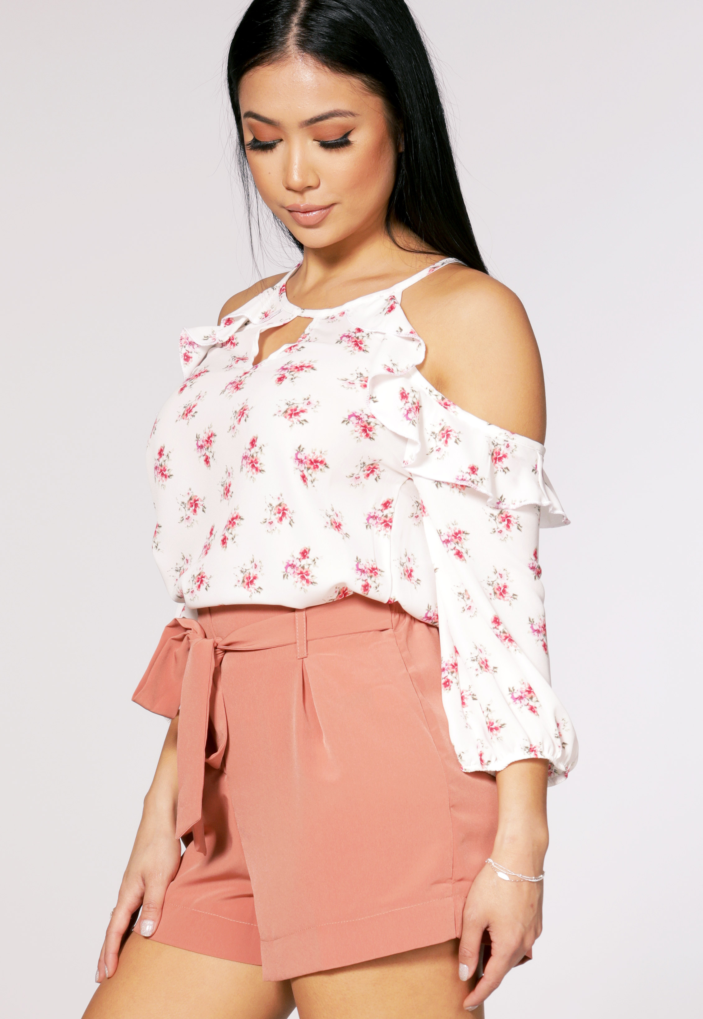 Open Shoulder Floral Dressy Top