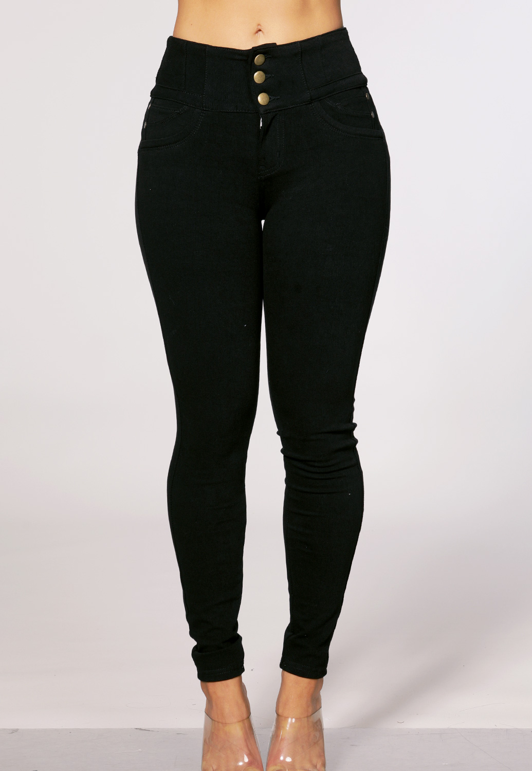 High Rise Multi Button Jeans