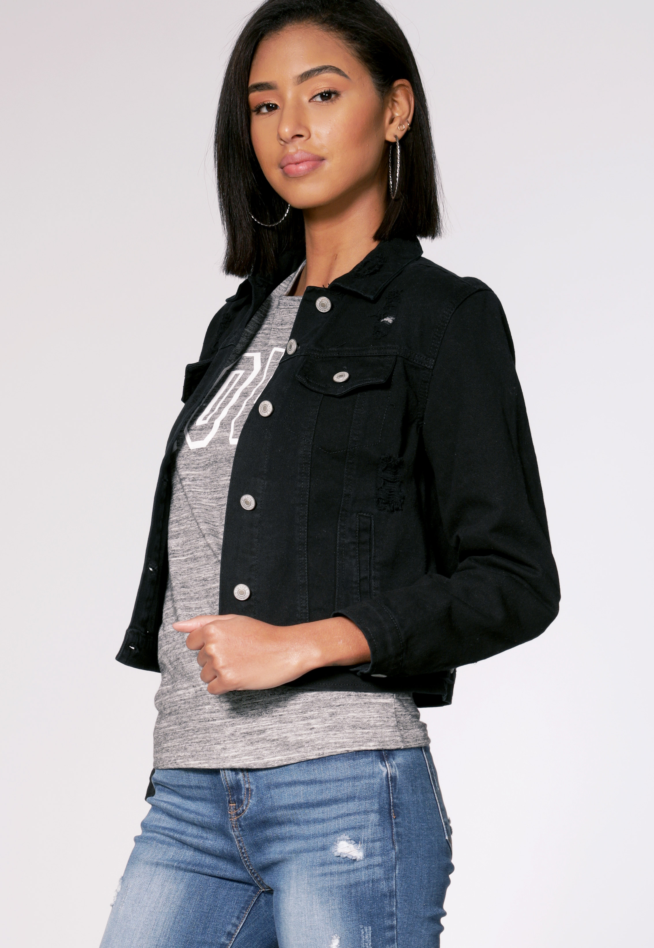 Distress Button Up Denim Jacket