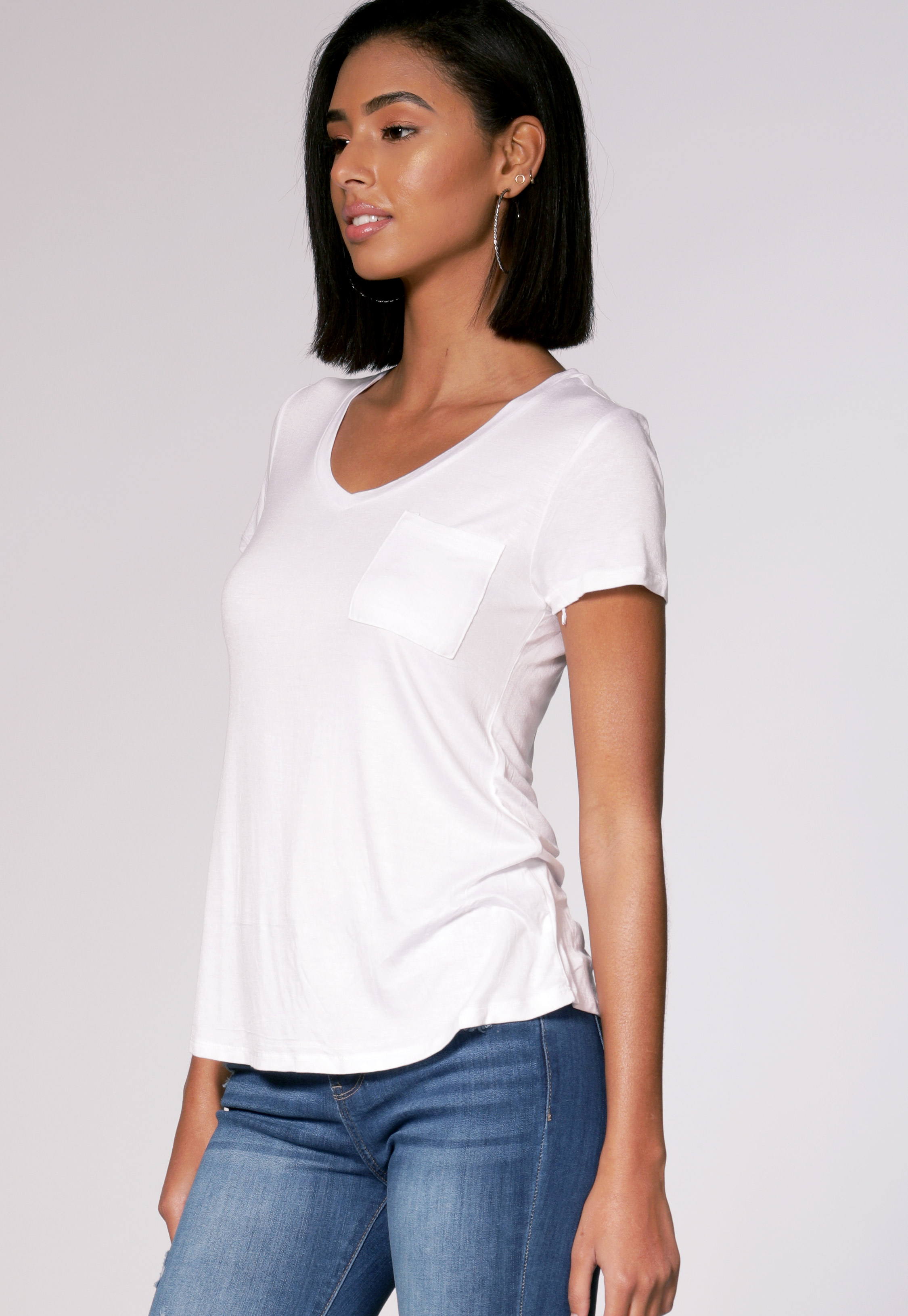 V Neck Pocket Detail Top