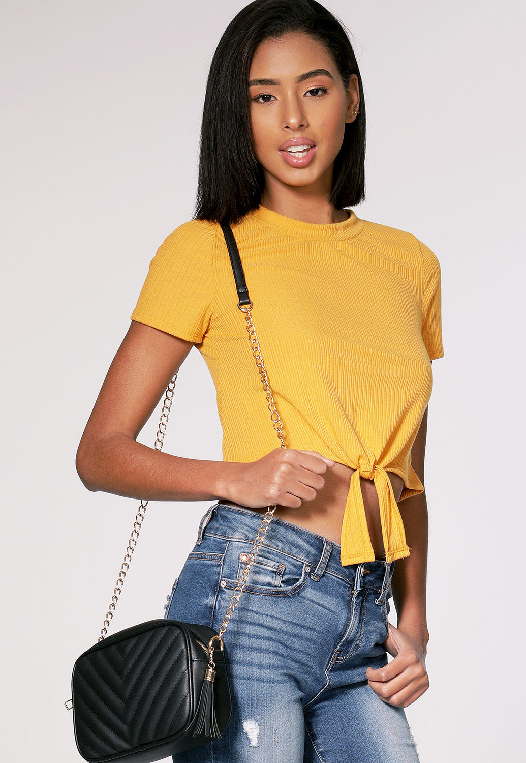 Tie Front Ribbed Top