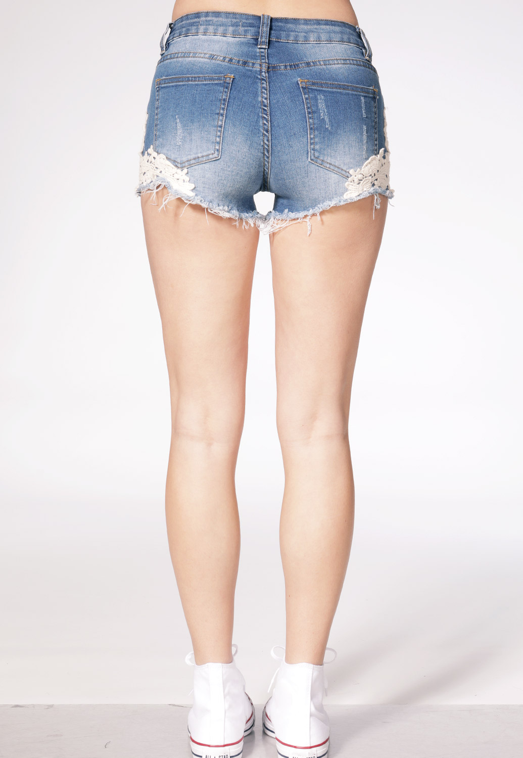 Crochet Laced Denim Shorts