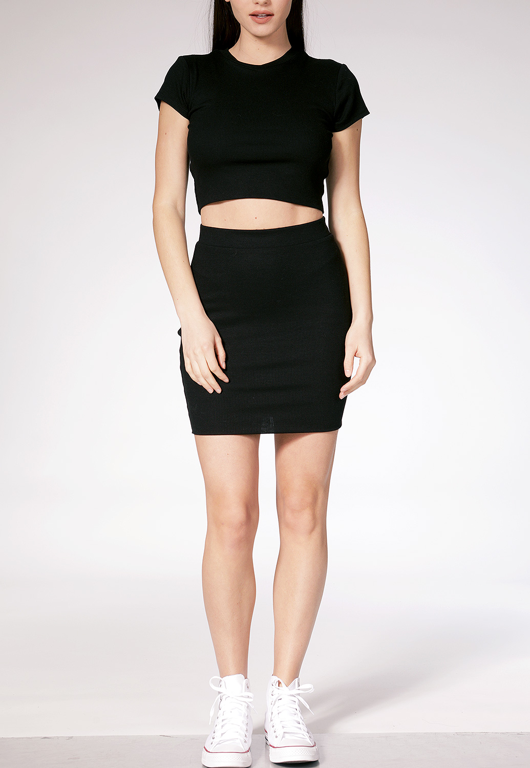 Ribbed Crop Top W/Skirt