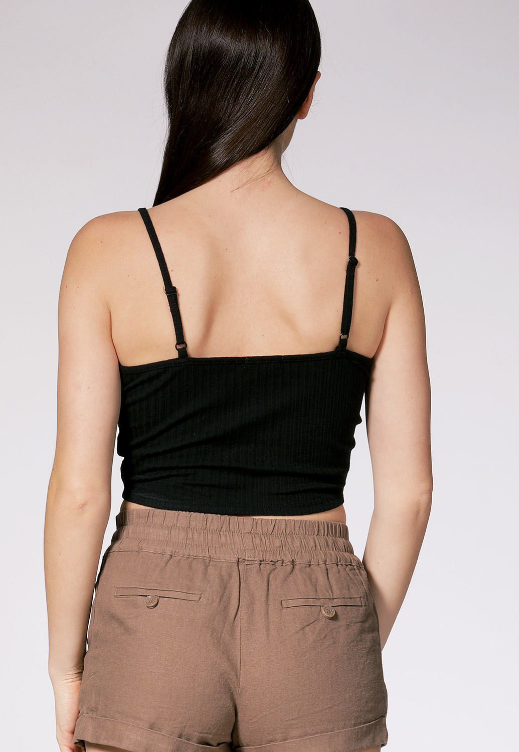 Ribbed Button Detail Crop Top