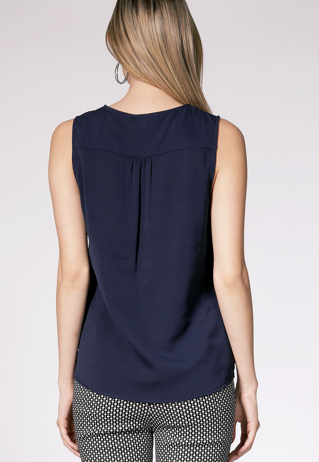 Sleeveless Button Detail Top