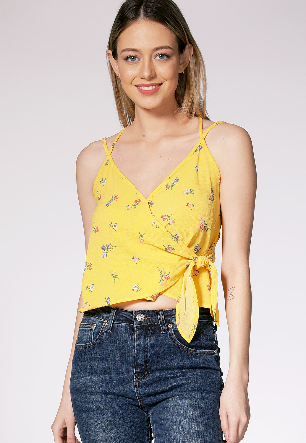Floral Back Criss Cross Top