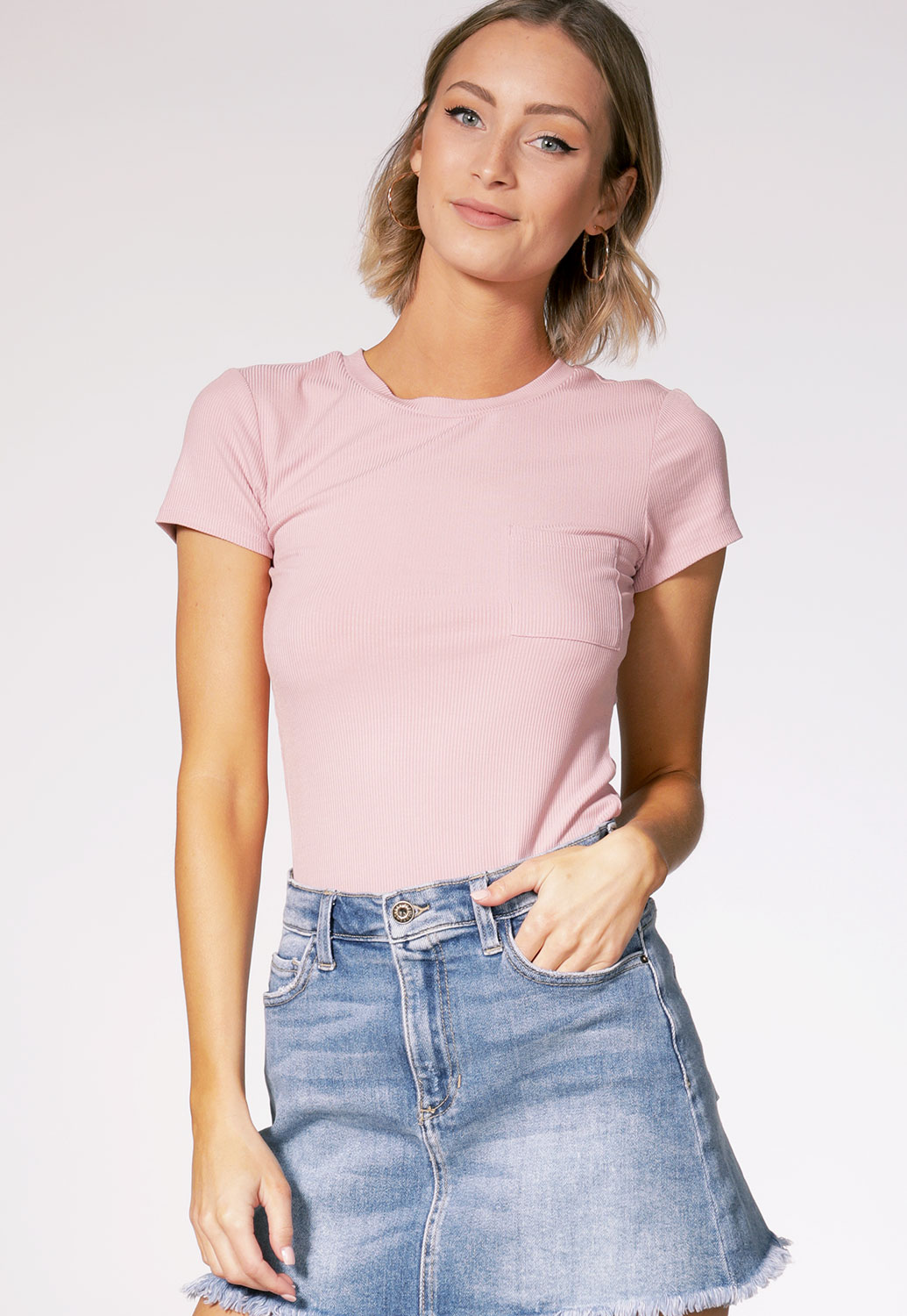 Ribbed Pocket Detail Top