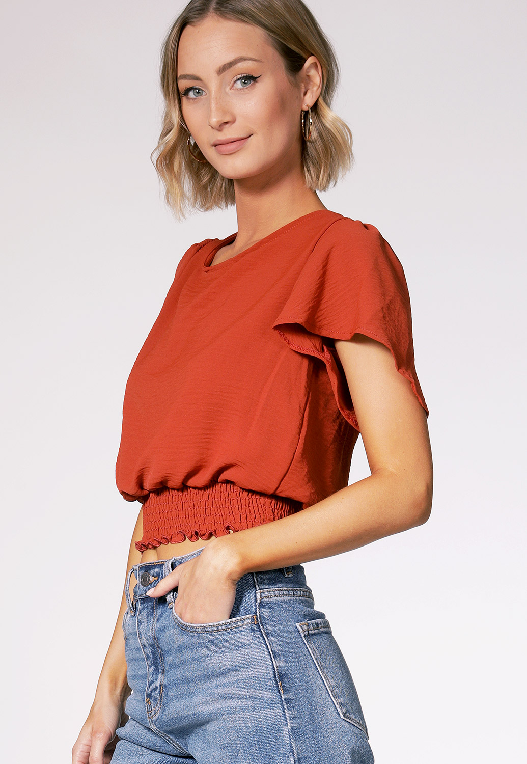 Tie Back Smocked Detail Top