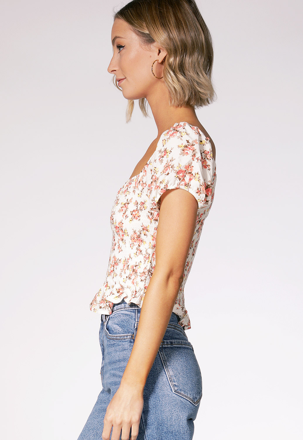 Floral Ruffle Trim Top
