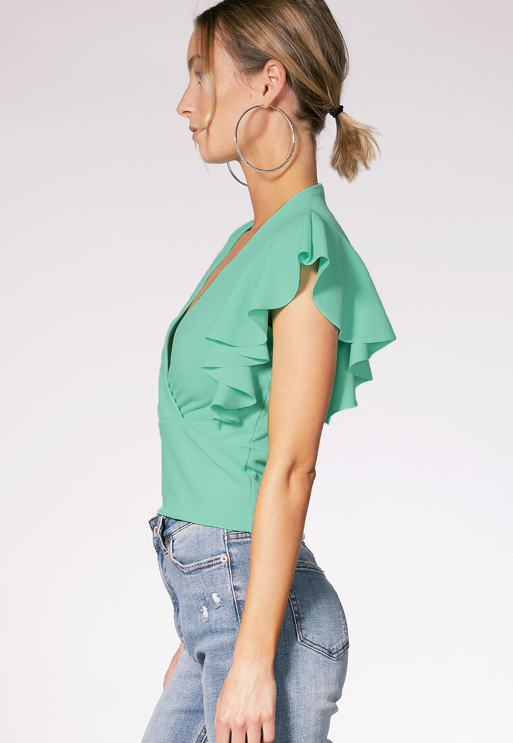 Ruffle Trim Surplice Top