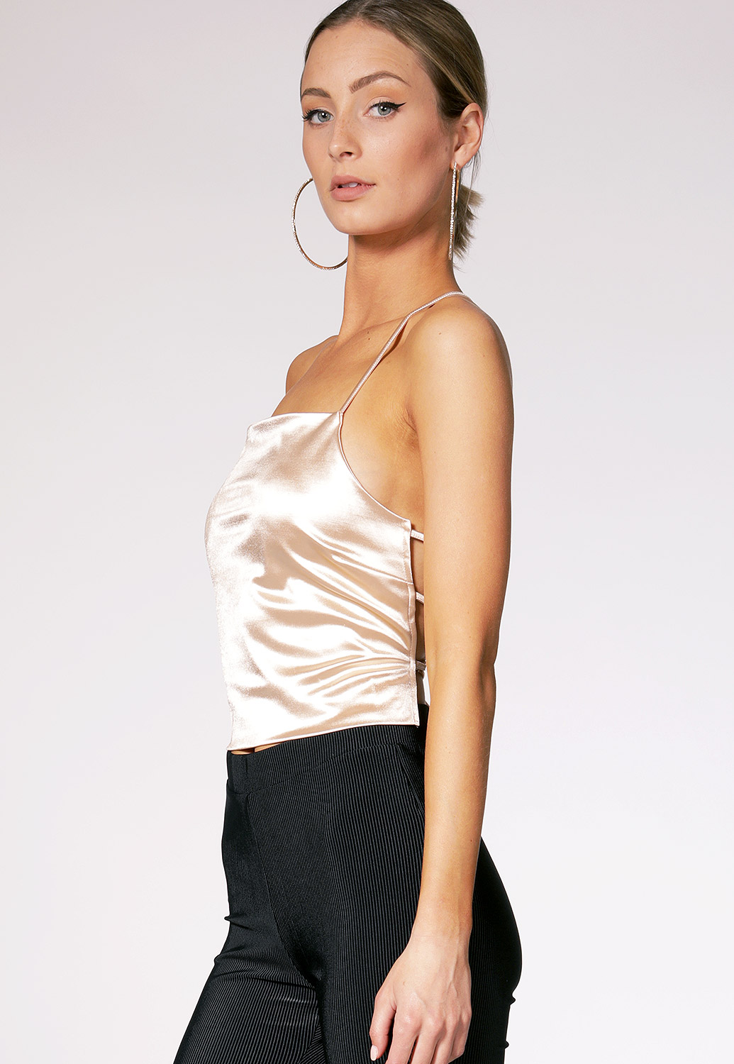 Surplice Tie Back Satin Top