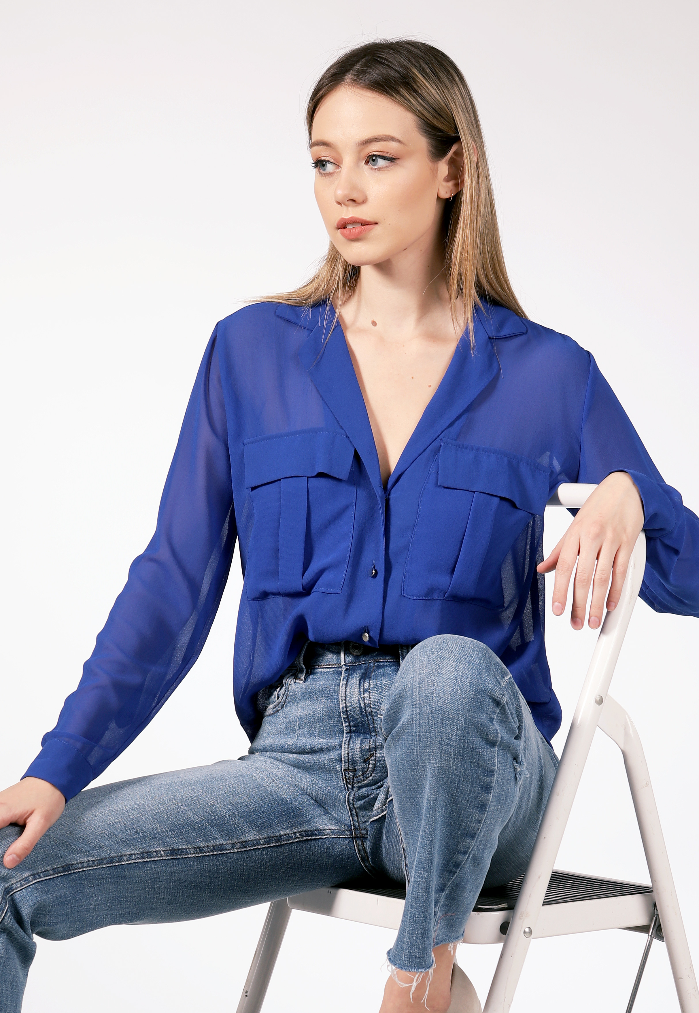 V Neck Button Detail Blouse