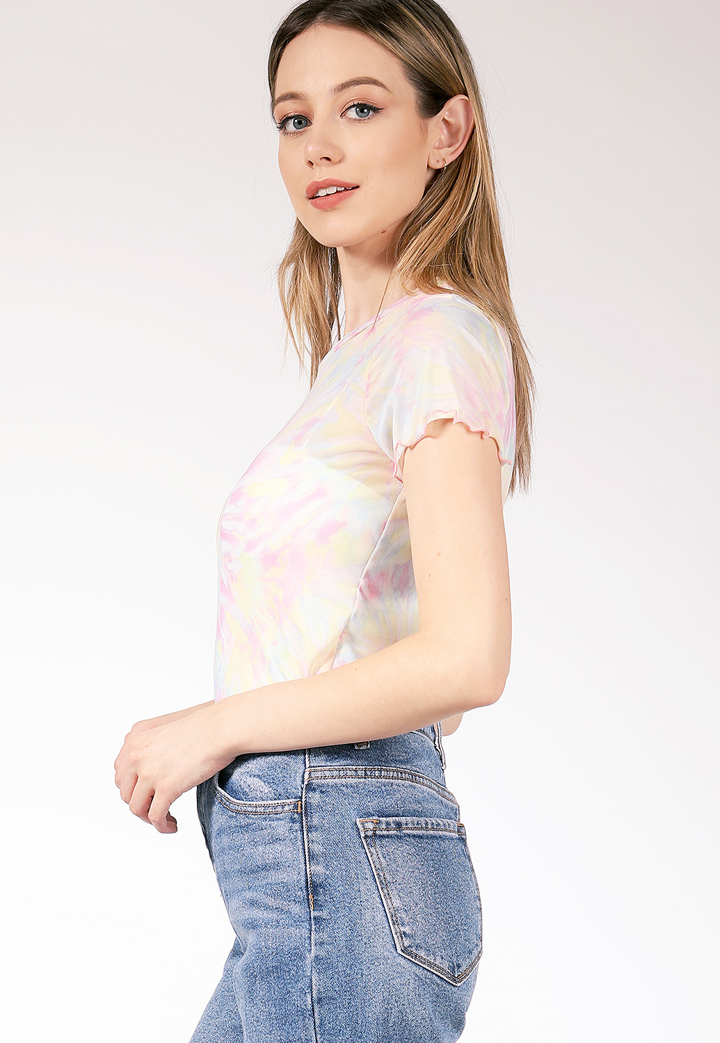 Sheer Mesh Tie Dye Top