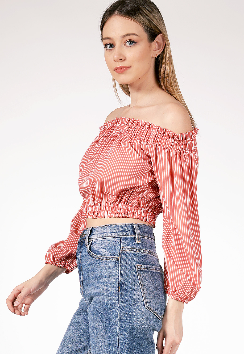 Off The Shoulder Pinstriped Top