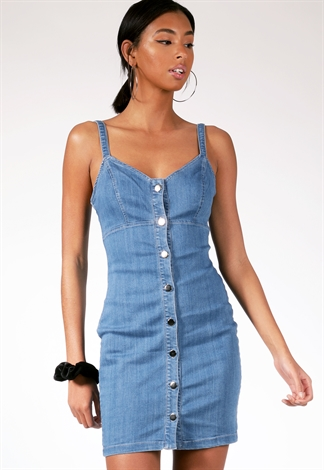 Button Up Denim Mini Dress
