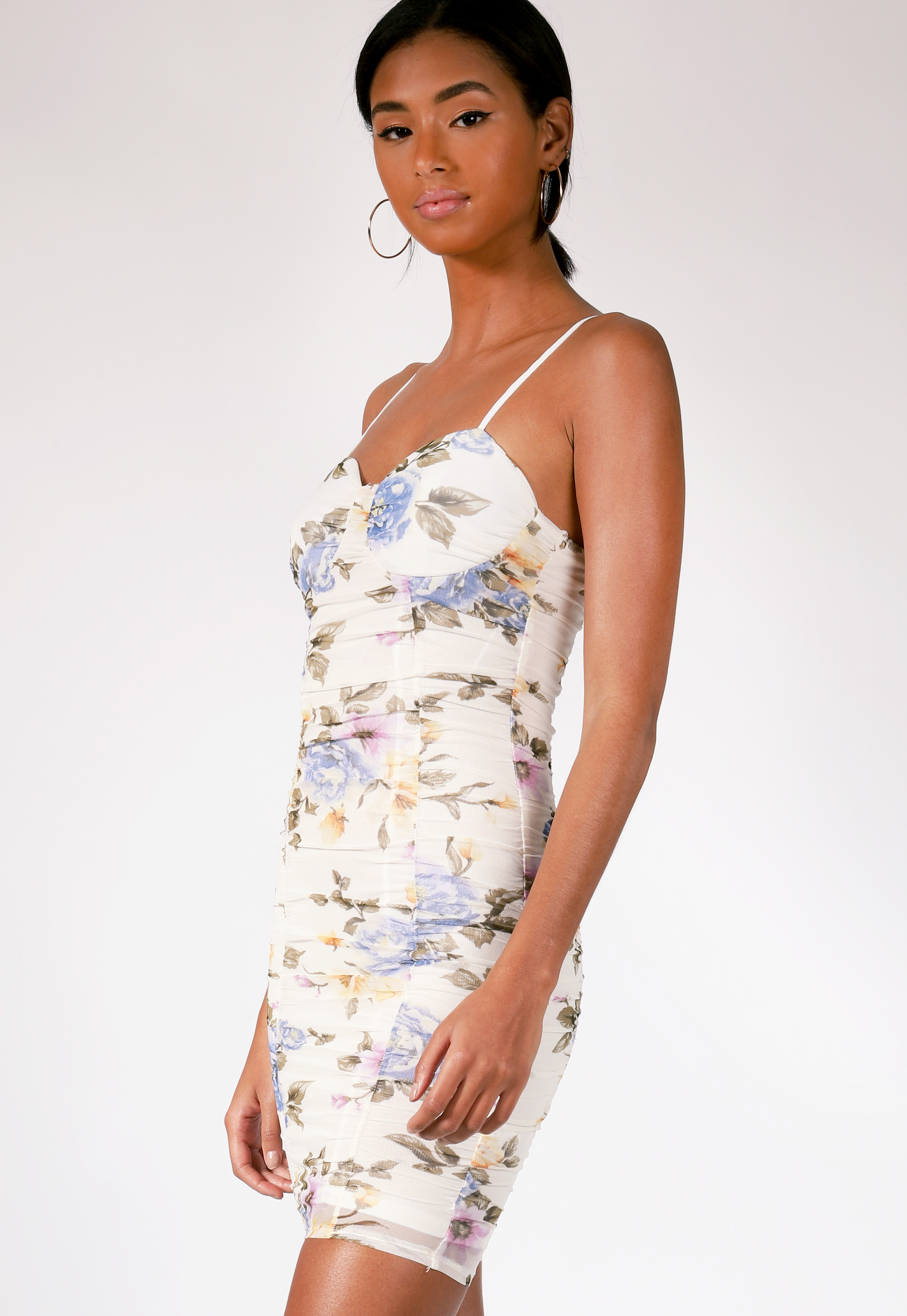 Floral Ruched Mini Bodycon Dress